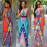 Hollow Out Exotic Printing Sleeveless Women Summer Dress