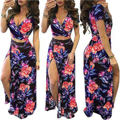 V Neck Short Sleeve Floral Print Two Piece Bohemian Dress