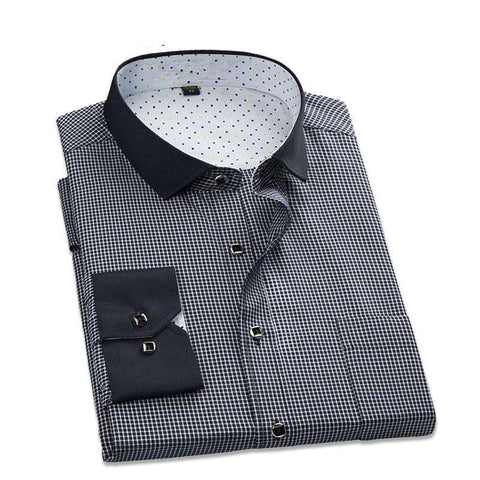 Casual Plaid Long Sleeve Social Business Dress Shirt