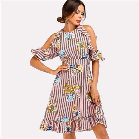 Striped Open Shoulder Ruffle Hem Dress