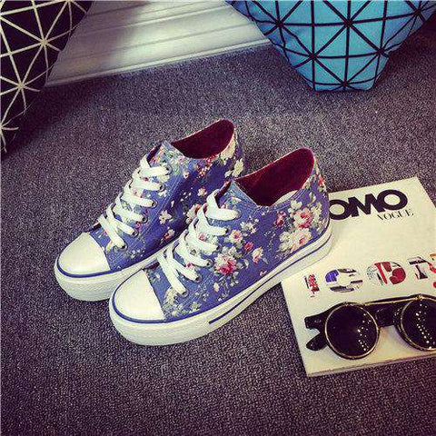 Canvas Footwear Lace-Up Floral Print Shoes
