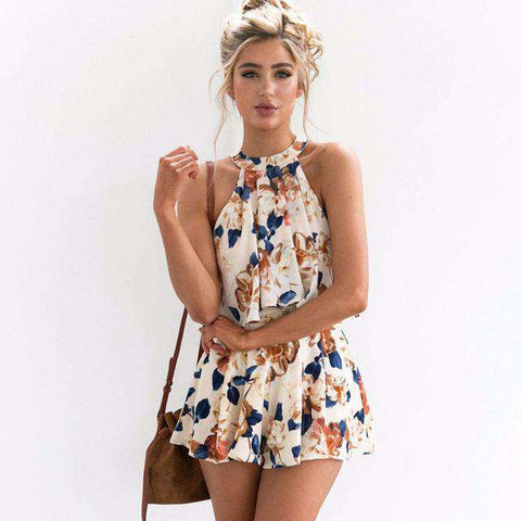 Vintage Floral Two Piece Crop Top and Shorts Skirt Set