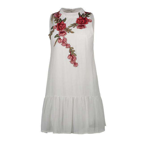 Embroidery Floral Chiffon Backless Ruffle Dress