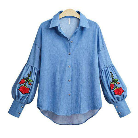 Fashion Lantern Sleeve Floral Embroidery Turn-down Blouse