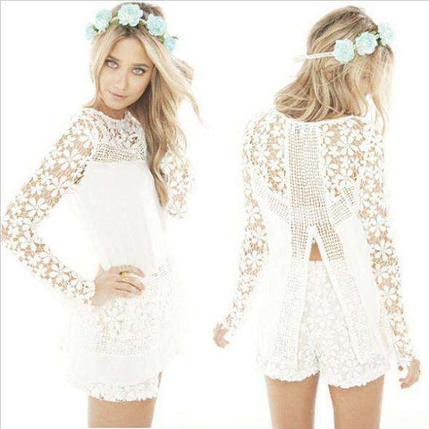 European Lace Style Retro Hollow Long-Sleeve Chiffon Blouse