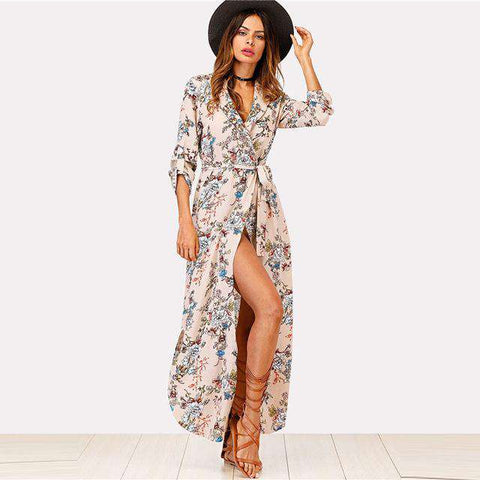 Floral Print Shawl Collar Deep V Neck Vacation Dress