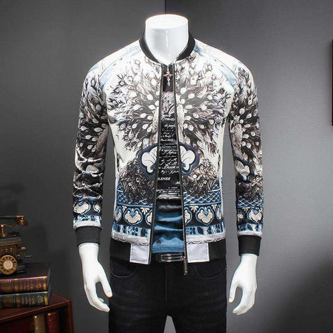 Men Luxury Fashion Pattern Peacoat Print Jacket