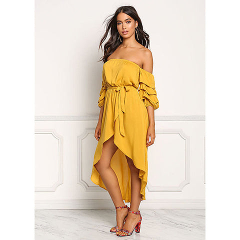 Summer Slash Neck Off Shoulder Half Puff Sleeve Dress