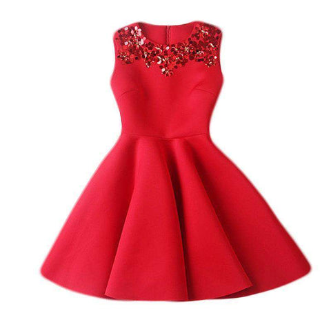 European Style Summer Casual Thin Red Dress Women