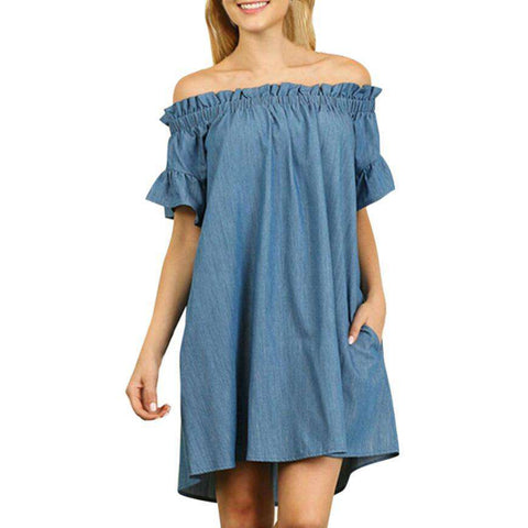 Off The Shoulder Denim Blue Shirt Dress