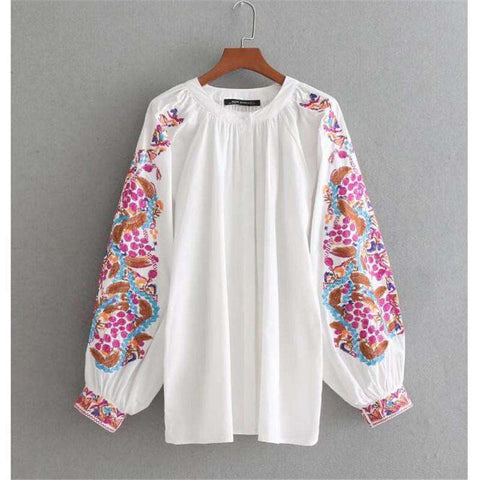 Boho Embroidery White Folk Floral ethnic bohemian Blouse