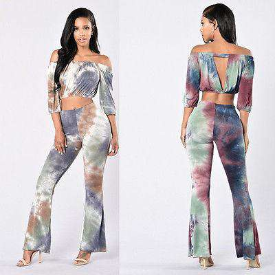 Tie Dye High Waist Flare Pant + Crop Top Dress