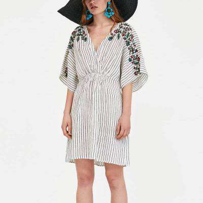European Print Causal V-Neck Striped Floral Dress