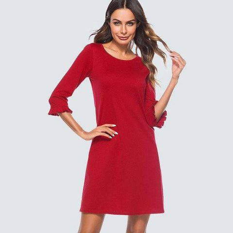 Elegant Ruffle Sleeve Casual Solid Red Dress