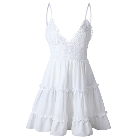 White Lace Ruffles Spaghetti Strap Beach Dress