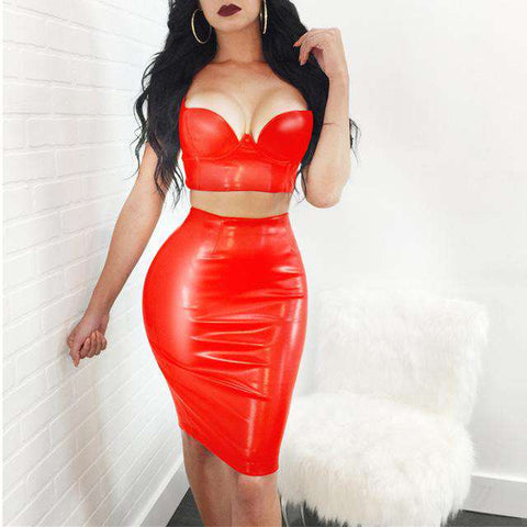 PU Leather Two Piece Bandage Bodycon Dress