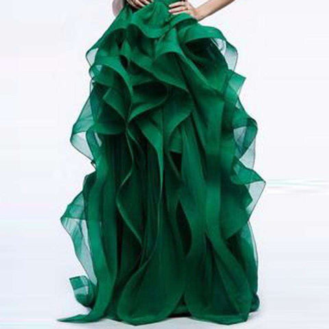 Ball Gown Long Ruffles Tiered Thick Organza Party Skirt