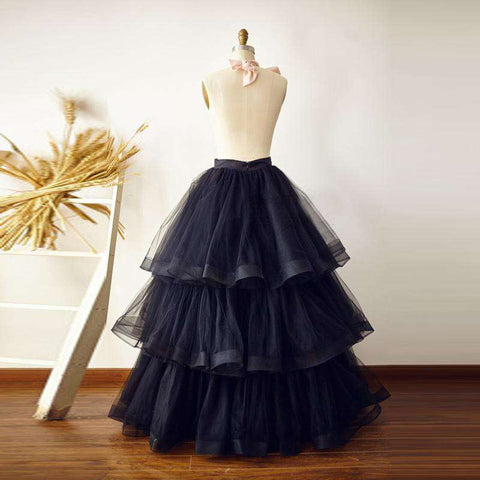 Puffy Black Tiered Tulle Evening Party Skirt