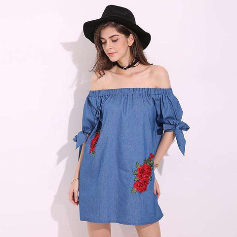 Embroidery Slash Neck Off Shoulder Denim Bow Tie Mini Dress