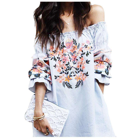 Boho Casual Floral Leaf Print Half Sleeve Off Shoulder Dress