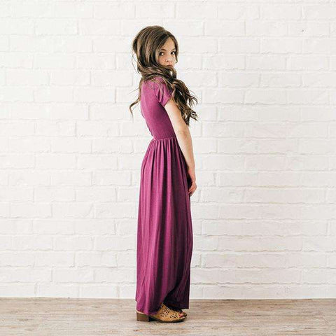 Elegant Formal Dress A-Line Kids Maxi Dress