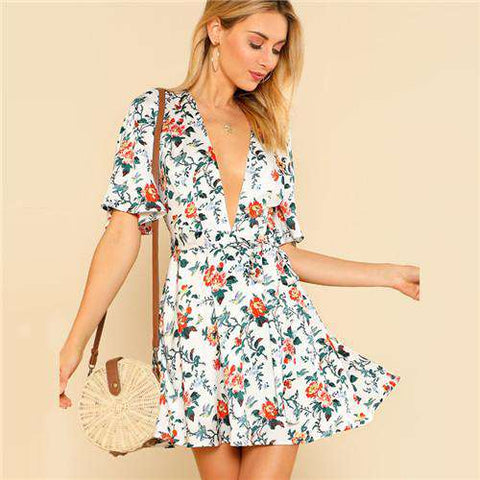 Flower Print Self Tie Plunging A Line Dress