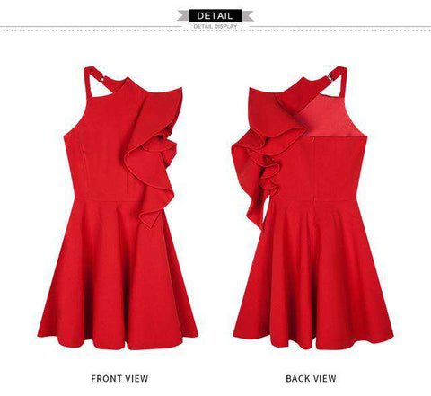 Women Summer Sexy One Shoulder Backless Red Mini Dress