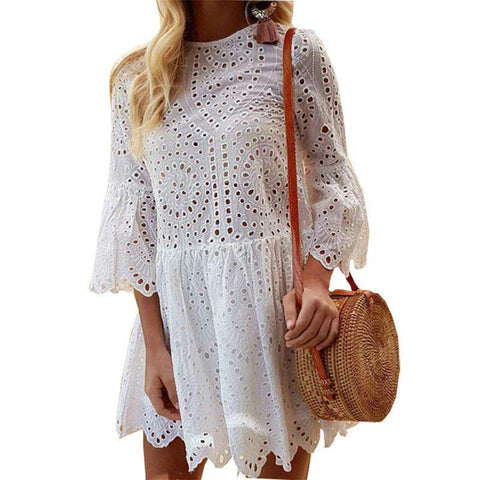 Ruffles Lace O-neck Flare Sleeve Hollow Out A-Line Mini Dress