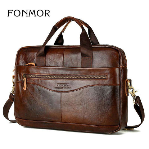 Cowhide Genuine Leather Men Multi-Function Handbag
