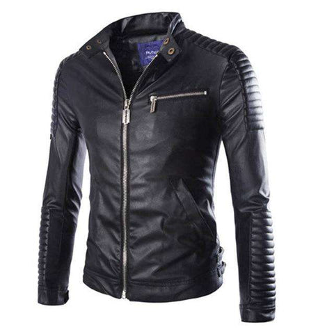 Men Polyester Lined PU Motorcycle Suede Jacket