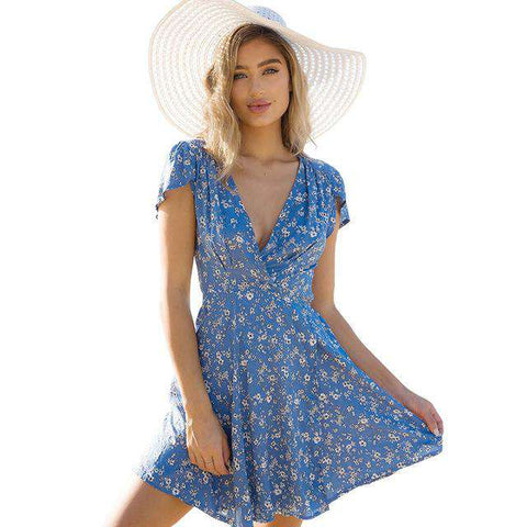 Floral Deep V-neck Wrap Tunic Beach Dress