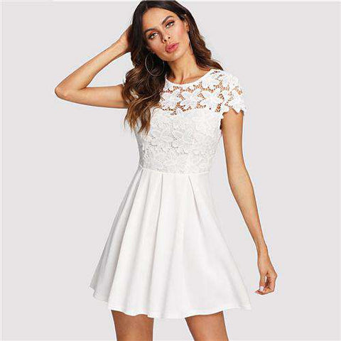 Backless Round Neck Cap Sleeve Lace Knot Short Dress