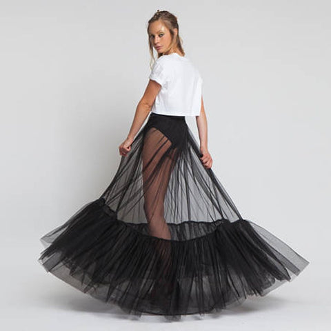 Sheer One Layer Ruched Edge Long Tulle Skirt