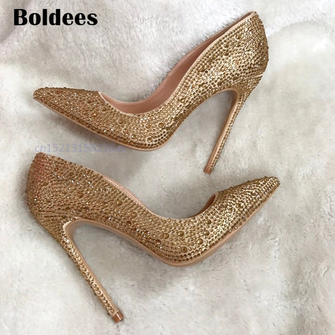 Woman Thin High Pointed Toe Pumps Gold Heels
