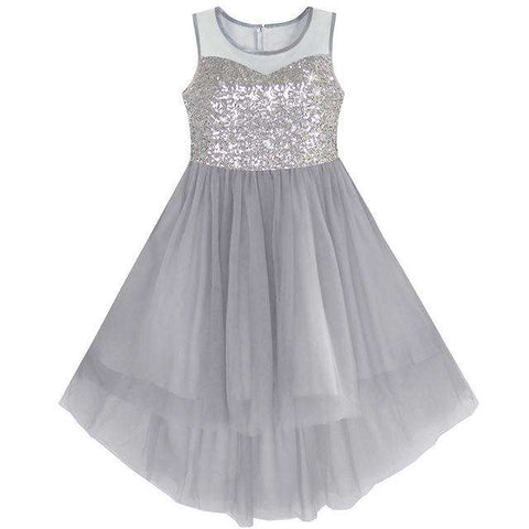 Sequined Tulle Hi-lo Kids Wedding Party Dress