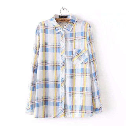 Pockets Casual Plaid Long Sleeve Blouse Shirt