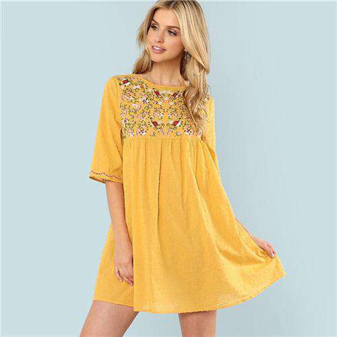 Bohemian Floral Embroidery Round Neck Casual Dress