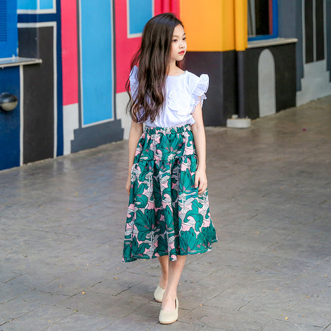 Two-piece Kids Skirts White Floral Top