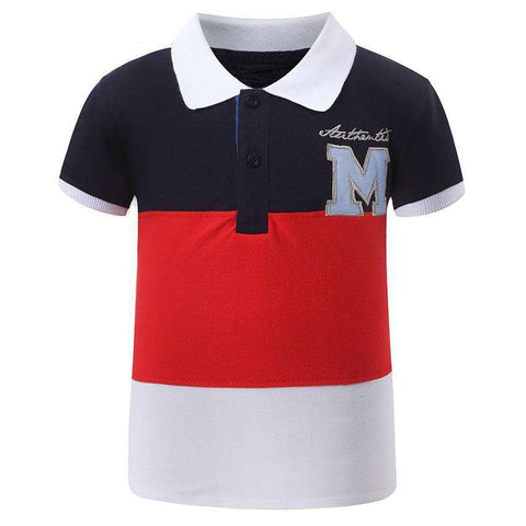 Cotton Short Sleeve Patchwork Embroidery Kids Polo Shirt