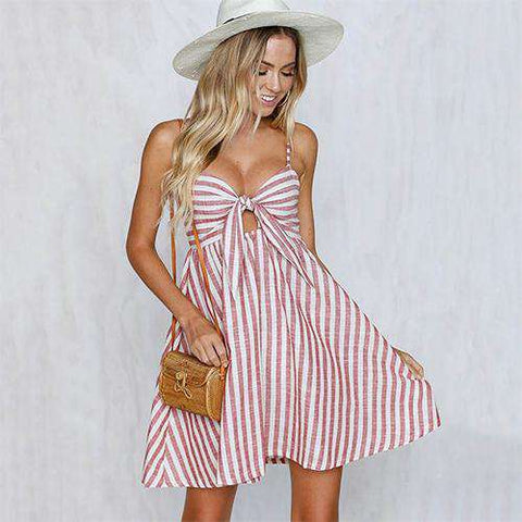 Backless Bow Striped Spaghetti Strap Mini Dress