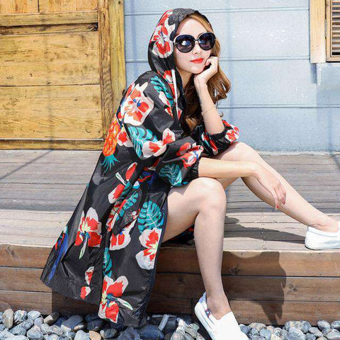 Colorful Printed Collar Long Sleeve Hooded Coat