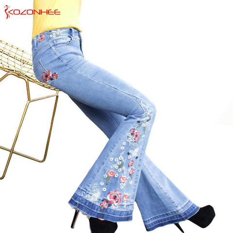 Bell-Bottom Embroidery Stretching Flare Jeans Women