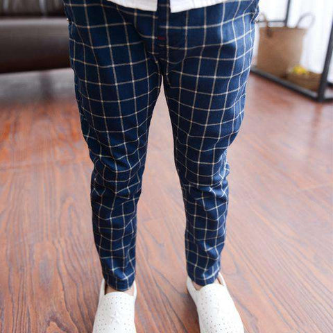 plaid trousers cotton Kids harem pants