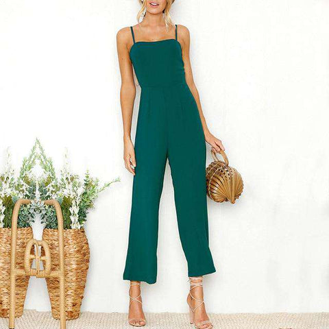Casual Backless Wide Leg Jumpsuit