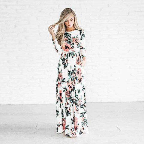 Tunic Casual Floral Print Floor Length Maxi Dress