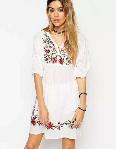 Embroidered V-Neck Casual Cotton Party Dress