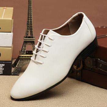 British Men's Pure Black White Pointed Toe Formal Flats