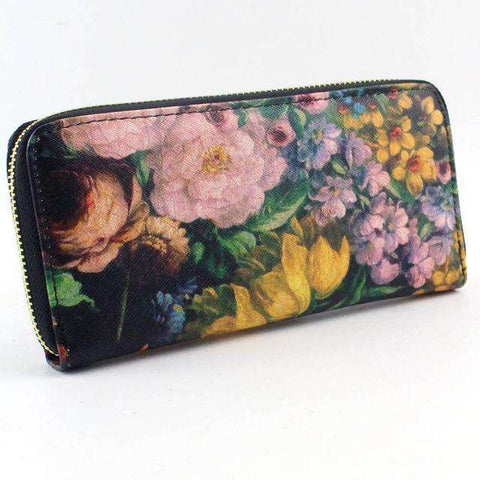 Leather Long Card Rose Wallet Clutch