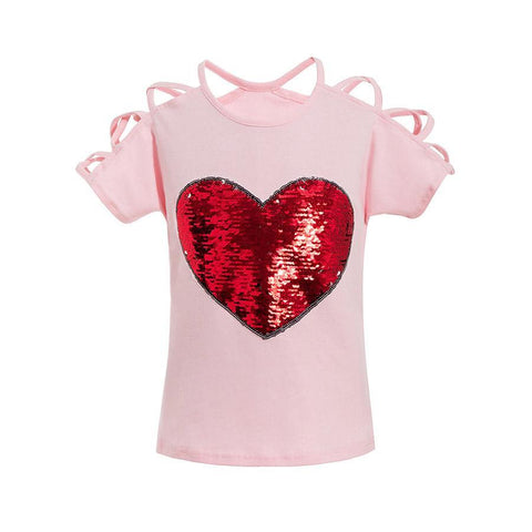 Short Sleeves Tees Kids Sequins Sling Girl