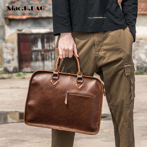 14 Iinch PU Leather Men Vintage Business Laptop Handbag